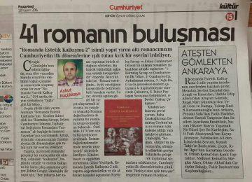 Cumhuriyet Gazetesi Estetik Kalkışma-2 kitabımızdan söz etti.