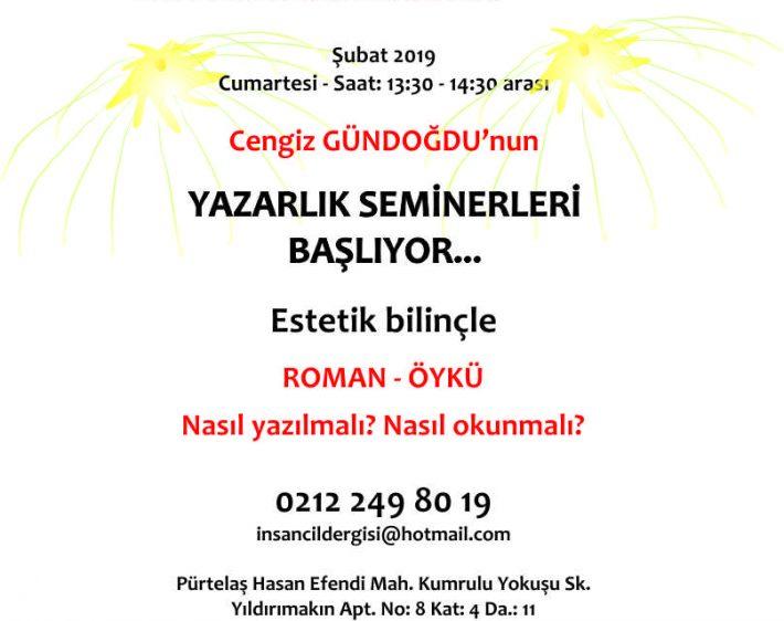 Cengiz Gündoğdu yönetiminde YAZARLIK Semineri başlıyor